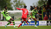Gboly Ariyibi of MK Dons takes a shot at the Forest Green Rovers defence during Forest Green Rovers vs MK Dons, Caraboa Cup Football at The New Lawn on 8th August 2017