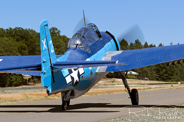 Grumman TBM-3 Avenger, bu85983, piloted by Chuck Wentworth is taxied during the 2013 Grass Valley Airfest held at the Nevada County Airport in California's gold country. This aircraft, like many of the former World War II torpedo bombers saw duty as sprayers and aerial firefighting platforms.