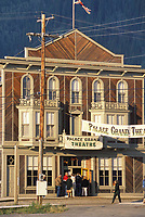 Downtown street in the historic gold mining city of Dawson, Yukon Territory, Canada