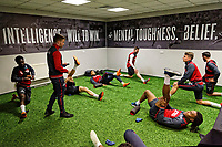 Players exercise in the gym during the Swansea City Training at The Liberty Stadium, Swansea, Wales, UK. Thursday 26 April 2018