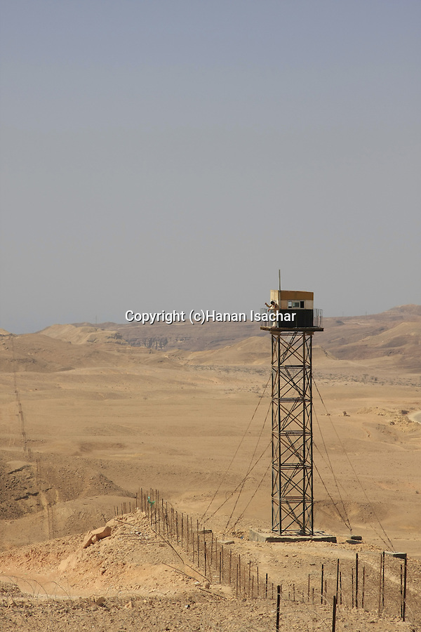 Israel, Eilat Mountains, Egyptian watch tower on the border