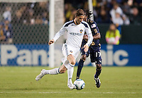 LA Galaxy midfielder David Beckham (23) moves with the ball. The LA Galaxy defeated the Philadelphia Union 1-0 at Home Depot Center stadium in Carson, California on  April  2, 2011....