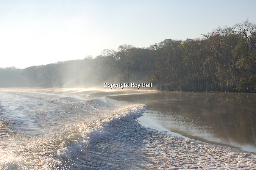 Early morning boat trip on the intercoastal waterway near Appalatchicola Florida with fog rolling off the boat wake.