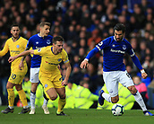 17th March 2019, Goodison Park, Liverpool, England; EPL Premier League Football, Everton versus Chelsea; Andre Gomes of Everton takes on Cesar Azpilicueta of Chelsea