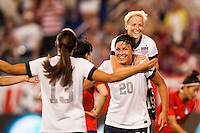United States (USA) forward Abby Wambach (20) celebrates scoring her fourth goal of the match during an international friendly between the women's national teams of the United States and the Korea Republic at Red Bull Arena in Harrison, NJ, on June 20, 2013.