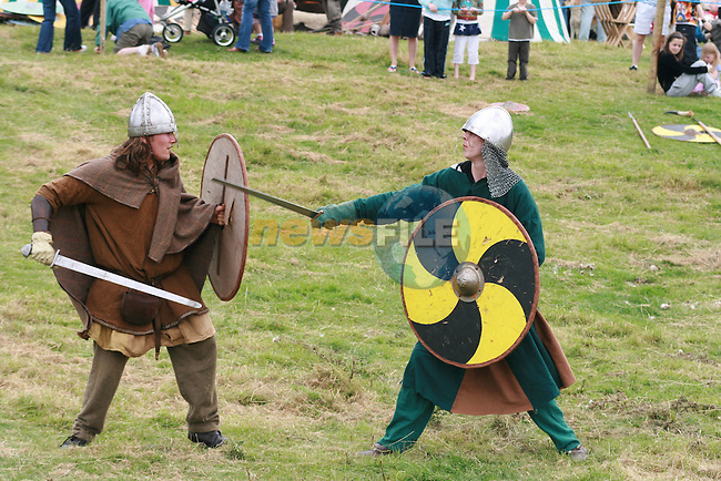 Fighting Vikings at the Viking Festival in Annagassan...Photo NEWSFILE/Jenny Matthews.(Photo credit should read Jenny Matthews/NEWSFILE)....This Picture has been sent you under the condtions enclosed by:.Newsfile Ltd..The Studio,.Millmount Abbey,.Drogheda,.Co Meath..Ireland..Tel: +353(0)41-9871240.Fax: +353(0)41-9871260.GSM: +353(0)86-2500958.email: pictures@newsfile.ie.www.newsfile.ie.FTP: 193.120.102.198.