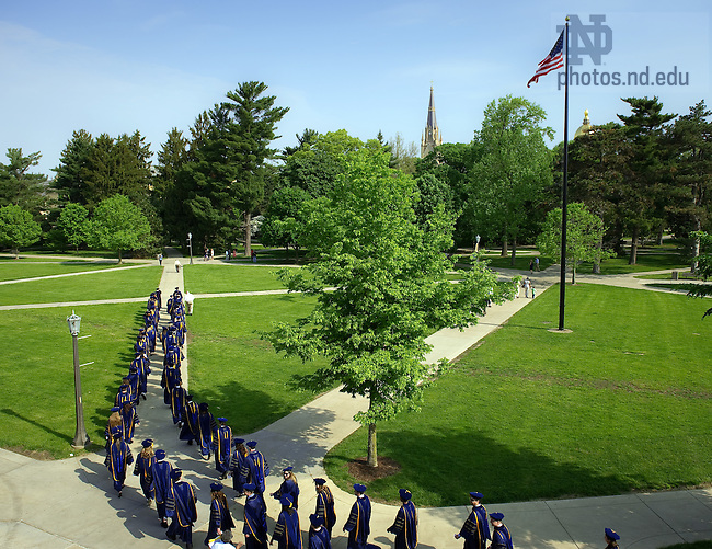 May 21, 2011; Graduates of the Law School walk to the Basilica...Photo by Matt Cashore/University of Notre Dame