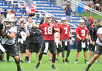 Wednesday, July 27, 2016: New Orleans Saints quarterback Garrett Grayson (18) loses his grip on a wet ball at a joint training camp practice between New England Patriots and  the New Orleans Saints  training camp held Gillette Stadium in Foxborough Massachusetts. Eric Canha/CSM