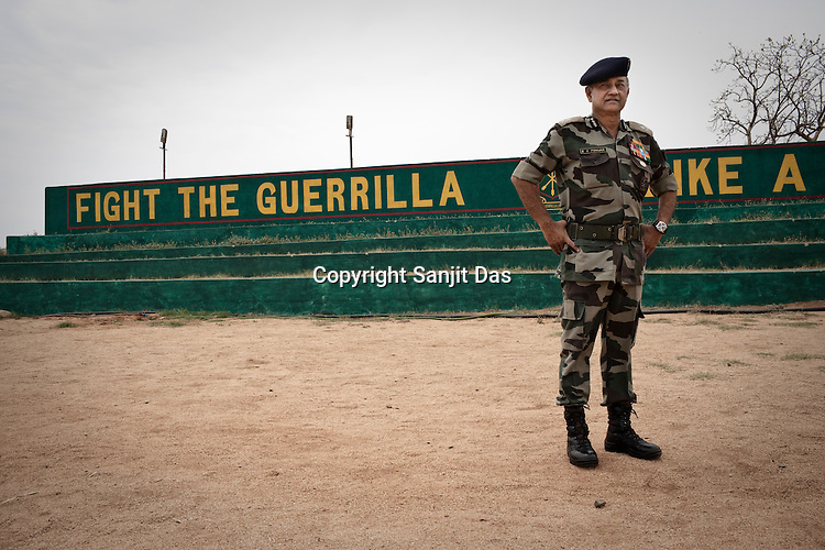 Brig BK Ponwar, Director of Chhattisgarh's first Counter-terrorism and Jungle Warfare College poses for a portrait in his training school in Kanker, 145 km from state capital Raipur in Chattisgarh, India.  Photograph: Sanjit Das/Panos