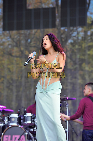 Eliza Doolittle<br />  Barclaycard British Summertime, Hyde Park, London, England. <br /> 14th July 2013<br /> on stage in concert live gig performance performing music half length blue dress sheer see through thru flowers belly stomach midriff singing 3/4 <br /> CAP/MAR<br /> &copy; Martin Harris/Capital Pictures