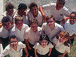 Group of school children, Cayman Brac, Cayman Islands,