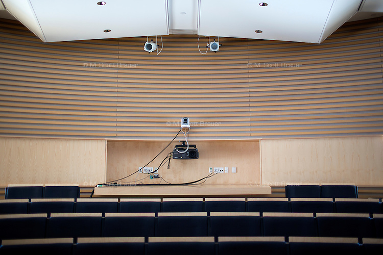 Audio-visual equipment hangs in the back of one of the Media Lab's few lecture halls at MIT in Cambridge, Massachusetts, USA.