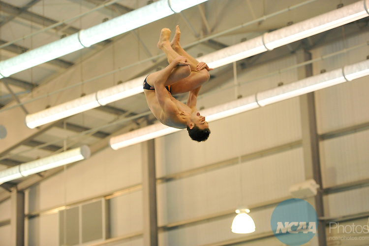 15 MAR 2014: Luke Calkins from the University of California at San Diego prepares for his dive during the Division II Men's and Women's Swimming and Diving Championship held at the SPIRE Institute in Geneva, OH. David Richard/NCAA Photos