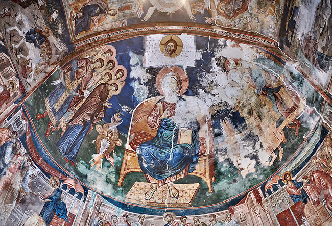 Pictures & images of the interior frescoes of Christ Pantocrator in the Apse of Ubisa St. George Georgian Orthodox medieval monastery, Georgia (country)<br /> <br /> The 14th century lavish interior frescoes were painted by Gerasim in a local style known as Palaeologus  following Byzantine influences.