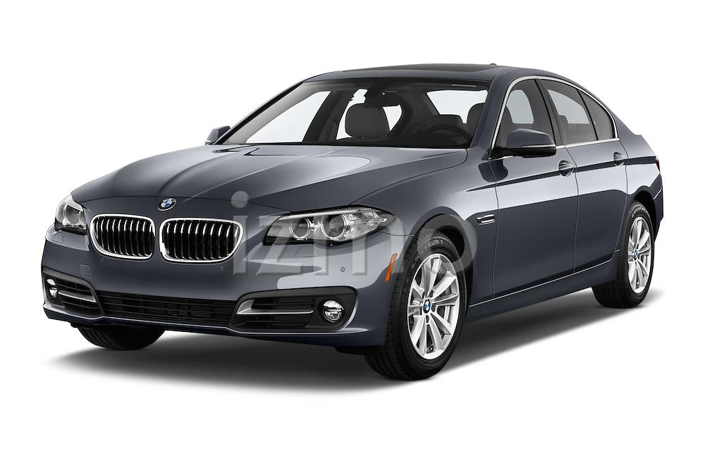2015 BMW 5 Series 528i 4 Door Sedan Angular Front stock photos of front three quarter view