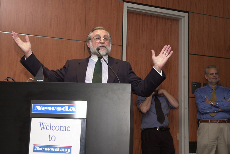 Tony Marro speaking at Celebration of 35th Anniversary of Newsday Investigations Team held in Newsday Auditorium in Melville on Thursday September 26, 2002. (Newsday photo by Jim Peppler).