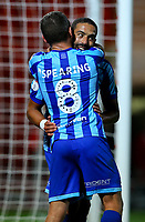 Blackpool's Jay Spearing celebrates with Liam Feeney after they scored a late winner<br /> <br /> Photographer Alex Dodd/CameraSport<br /> <br /> The EFL Sky Bet League One - Doncaster Rovers v Blackpool - Tuesday September 17th 2019 - Keepmoat Stadium - Doncaster<br /> <br /> World Copyright © 2019 CameraSport. All rights reserved. 43 Linden Ave. Countesthorpe. Leicester. England. LE8 5PG - Tel: +44 (0) 116 277 4147 - admin@camerasport.com - www.camerasport.com