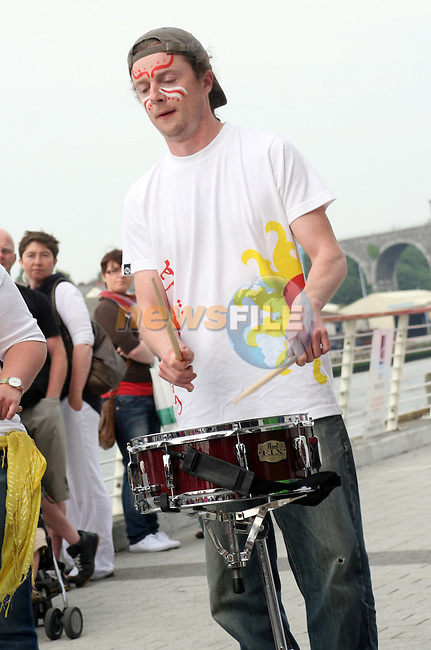 Sambarrada from Galway playing at the Launch of the Samba Festival in the D Hotel...Photo NEWSFILE/Jenny Matthews.(Photo credit should read Jenny Matthews/NEWSFILE)....This Picture has been sent you under the condtions enclosed by:.Newsfile Ltd..The Studio,.Millmount Abbey,.Drogheda,.Co Meath..Ireland..Tel: +353(0)41-9871240.Fax: +353(0)41-9871260.GSM: +353(0)86-2500958.email: pictures@newsfile.ie.www.newsfile.ie.FTP: 193.120.102.198.