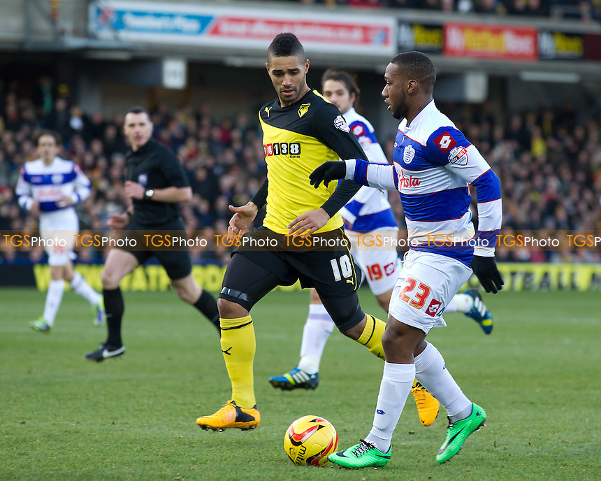 David Hoilett of Queens Park Rangers tries to open up the left side closely marshalled by Lewis McGugan of Watford - Watford vs Queens Park Rangers - Sky Bet Championship Football at Vicarage Road Stadium, Watford, Hertfordshire - 29/12/13 - MANDATORY CREDIT: Ray Lawrence/TGSPHOTO - Self billing applies where appropriate - 0845 094 6026 - contact@tgsphoto.co.uk - NO UNPAID USE