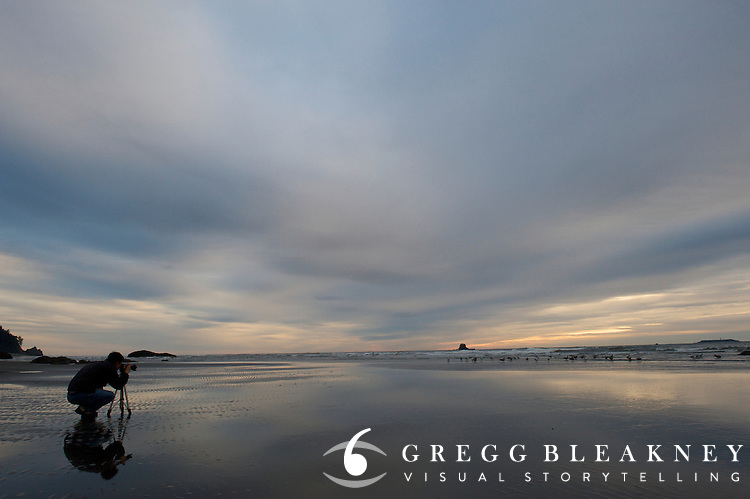 Photographer at sunset - Ruby Beach - Olympic National Park