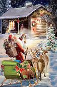 Interlitho, Patricia, CHRISTMAS SANTA, SNOWMAN, paintings, santa, sleigh, hut, KL5860,#X# Weihnachten, nostalgisch, Navidad, nostálgico, illustrations, pinturas