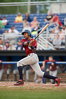 Mahoning Valley Scrappers left fielder Oscar Gonzalez (39) follows through on a swing during a game against the Batavia Muckdogs on August 18, 2017 at Dwyer Stadium in Batavia, New York.  Mahoning Valley defeated Batavia 8-2.  (Mike Janes/Four Seam Images)