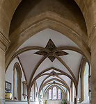 Three bays of stone vaulting in the chancel in the church at Bishops Cannings, Wiltshire, England, UK