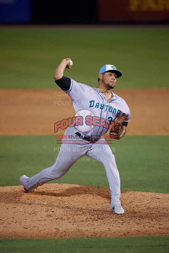 Daytona Tortugas starting pitcher Julio Pinto (30) during a Florida State League game against the Tampa Tarpons on May 18, 2019 at George M. Steinbrenner Field in Tampa, Florida.  Daytona defeated Tampa 7-6.  (Mike Janes/Four Seam Images)