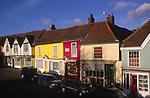 A3AAT1 Wooden framed colourful Tudor shop fronts Market Hill Woodbridge Suffolk
