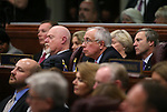 From left rear, Republican lawmakers Sen. Ben Kieckhefer, Assemblymen Randy Kirner and Pat Hickey, and Sen. Greg Brower, listen as Gov. Brian Sandoval delivers his State of the State address at the Legislative Building in Carson City, Nev., on Thursday night, Jan. 15, 2015. (Las Vegas Review-Journal/Cathleen Allison)