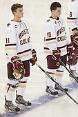 Chris Calnan (BC - 11), Danny Linell (BC - 10) - The Boston College Eagles defeated the visiting University of New Brunswick Varsity Reds 6-4 in an exhibition game on Saturday, October 4, 2014, at Kelley Rink in Conte Forum in Chestnut Hill, Massachusetts.