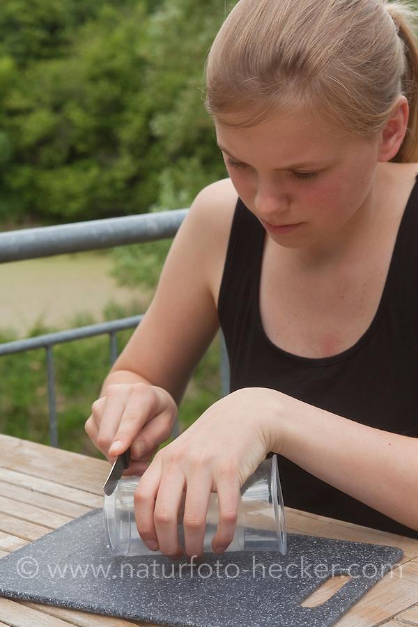 Mädchen, Kind bastelt eine Becherlupe, Beobachtungsgefäß aus 2 durchsichtigen Plastikbecher, einem Stück Styropor und Frischhaltefolie. 3. Schritt: der Boden eines der Plastikbecher wird abgeschnitten