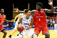 GRONINGEN - Basketbal, Donar - Spirou Basket, Martiniplaza, Europe Cup, seizoen 2018-2019, 20-11-2018,  Donar speler Arvin Slagter met Spirou speler Dario Hunt
