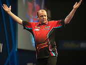 20.12.2014.  London, England.  William Hill World Darts Championship.  Ronny Huybrechts [BEL] celebrates his match winning double in his game with Andy Smith (28) [ENG].  Huybrechts won the match 3-0.