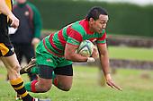 Sio Petelo dives over to score. Counties Manukau Premier Club Rugby game between Waiuku and Bombay, played at Waiuku on Saturday July 5th 2010. Waiuku won 59 - 14 after trailing 12 - 14 at halftme.