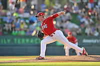 Starting pitcher Logan Boyd (39) of the Greenville Drive delivers a pitch in a game against the Augusta GreenJackets on Friday, June 10, 2016, at Fluor Field at the West End in Greenville, South Carolina. Greenville won, 5-4. (Tom Priddy/Four Seam Images)