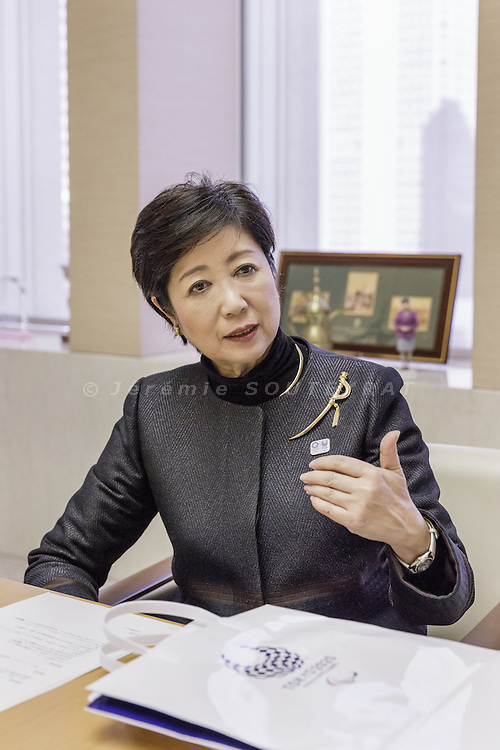 Tokyo, Japan, February 21 2017 - Interview and portrait of Yuriko KOIKE, governor of Tokyo, in a meeting room next to her office, on the 7th floor of the Tokyo Metropolitan Government Building.