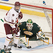 Colin White (BC - 18), Stefanos Lekkas (UVM - 40) - The visiting University of Vermont Catamounts tied the Boston College Eagles 2-2 on Saturday, February 18, 2017, Boston College's senior night at Kelley Rink in Conte Forum in Chestnut Hill, Massachusetts.Vermont and BC tied 2-2 on Saturday, February 18, 2017, Boston College's senior night at Kelley Rink in Conte Forum in Chestnut Hill, Massachusetts.