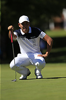 Ashun Wu (CHN) on the 5th green during Sunday's Final Round 4 of the 2018 Omega European Masters, held at the Golf Club Crans-Sur-Sierre, Crans Montana, Switzerland. 9th September 2018.<br /> Picture: Eoin Clarke | Golffile<br /> <br /> <br /> All photos usage must carry mandatory copyright credit (© Golffile | Eoin Clarke)