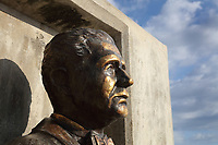 Bust of the president Joaquin Antonio Balaguer Ricardo, 1906-2002, at the Faro a Colon, or Columbus Lighthouse, a monument to Christopher Columbus designed by JL Gleave in 1931, and built 1986-92, in Santo Domingo Este, Dominican Republic, Caribbean. The concrete building is constructed in a cross shape, symbolising the christianisation of the region, and serves both as a museum and a mausoleum holding the remains of Columbus. 157 beams of light are emitted into the sky from the building. Picture by Manuel Cohen