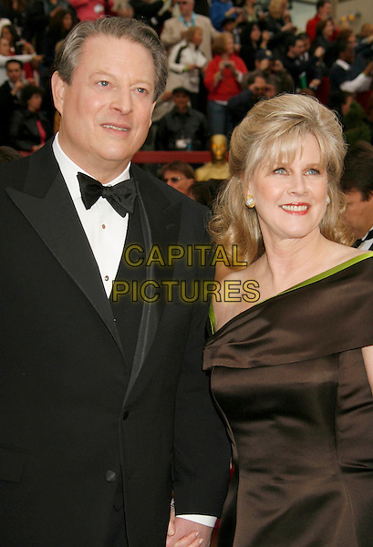 AL GORE & TIPPER GORE.The 79th Annual Academy Awards - Arrivals held at the Kodak Theatre, Hollywood, California, USA,.February 25th, 2007..oscars red carpet half length married husband wife lime green and brown dress.CAP/ADM/RE.©Russ Elliot/AdMedia/Capital Pictures...