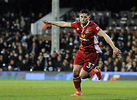 Blackburn Rovers' Craig Conway celebrates scoring his sides equalising goal from the penalty spot to make the score 1-1<br /> <br /> Photographer /Ashley WesternCameraSport<br /> <br /> The EFL Sky Bet Championship - Fulham v Blackburn Rovers - Tuesday 14th March 2017 - Craven Cottage - London<br /> <br /> World Copyright &copy; 2017 CameraSport. All rights reserved. 43 Linden Ave. Countesthorpe. Leicester. England. LE8 5PG - Tel: +44 (0) 116 277 4147 - admin@camerasport.com - www.camerasport.com