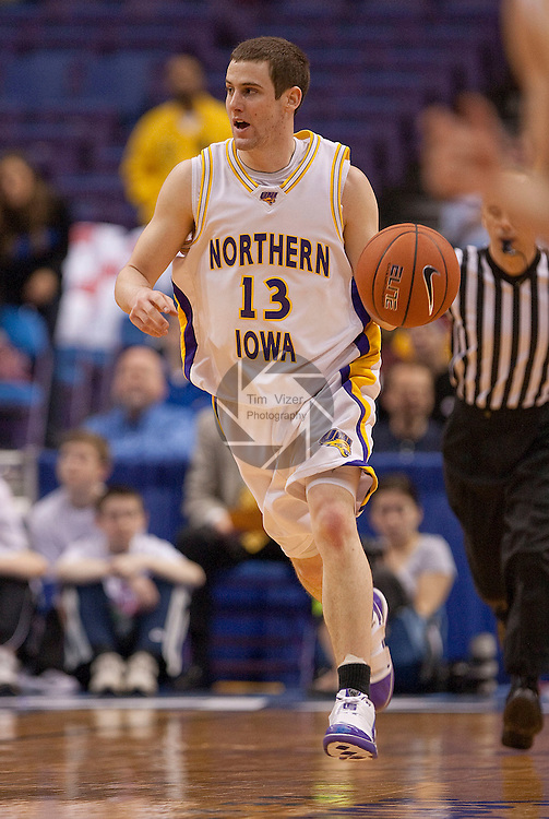 March 5,  2010              Northern Iowa guard Johnny Moran (13) brings the ball downcourt in the second half.   The University of Northern Iowa Panthers played the Drake University Bulldogs in Game 3 of the Missouri Valley Conference Tournament at the Scottrade Center in downtown St. Louis, MIssouri on Friday March 5, 2010.  The Bulldogs advanced to play the Panthers on the second day of competition after defeatiing the Southern Illinois University-Carbondale Salukis in Game 1.  Northern Iowa won, 55-40 and advances.