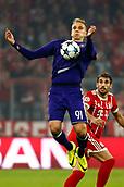 September 12th 2017, Munich, Germany, Champions League football, Bayern Munich versus Anderlecht;   Lukasz Teodorczyk forward of RSC Anderlecht controls the high ball