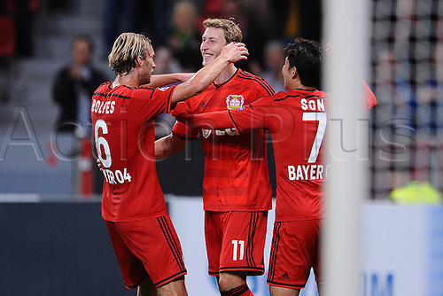 27.08.2014. Leverkusen, Germany. UEFA Champions League qualification match. Bayer Leverkusen versus FC Copenhagen. Stefan Kiessling ( Leverkusen ) scores from the spot for 3:0