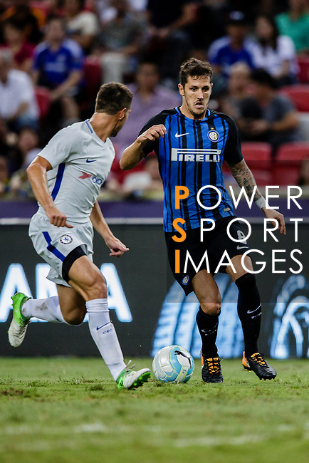 FC Internazionale Forward Stevan Jovetic (R) plays against Chelsea Defender Cesar Azpilicueta (L) during the International Champions Cup 2017 match between FC Internazionale and Chelsea FC on July 29, 2017 in Singapore. Photo by Marcio Rodrigo Machado / Power Sport Images