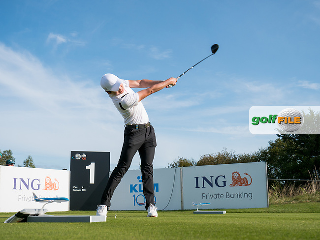 Jeunghun Wang (KOR) in action on the 1st hole during the 3rd round at the KLM Open, The International, Amsterdam, Badhoevedorp, Netherlands. 14/09/19.<br /> Picture Stefano Di Maria / Golffile.ie<br /> <br /> All photo usage must carry mandatory copyright credit (© Golffile   Stefano Di Maria)