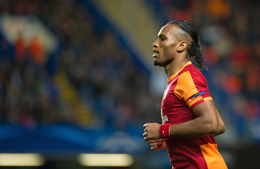 Galatasaray's Didier Drogba in action during the match against Chelsea<br /> <br /> Photo by Ashley Western/CameraSport<br /> <br /> Football - UEFA Champions League First Knockout Round 2nd Leg - Chelsea v Galatasaray - Tuesday 18th March 2014 - Stamford Bridge - London<br />  <br /> &copy; CameraSport - 43 Linden Ave. Countesthorpe. Leicester. England. LE8 5PG - Tel: +44 (0) 116 277 4147 - admin@camerasport.com - www.camerasport.com