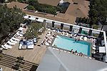 Looking down on the pool that is part of the famed Sky Bar at the Mondrian Hotel, West Hollywood, CA
