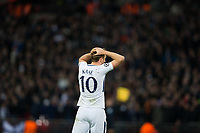 Tottenham Hotspur's Harry Kane looks dejected after his header is cleared off the line <br /> <br /> Photographer Craig Mercer/CameraSport<br /> <br /> UEFA Champions League Round of 16 Second Leg - Tottenham Hotspur v Juventus - Wednesday 7th March 2018 - Wembley Stadium - London <br />  <br /> World Copyright &copy; 2017 CameraSport. All rights reserved. 43 Linden Ave. Countesthorpe. Leicester. England. LE8 5PG - Tel: +44 (0) 116 277 4147 - admin@camerasport.com - www.camerasport.com